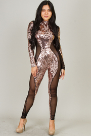 High Neck Long Sleeve Sequin See Through Jumpsuit