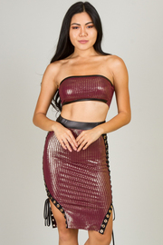 Tube Top and Skirt With Lace Up Detail Set