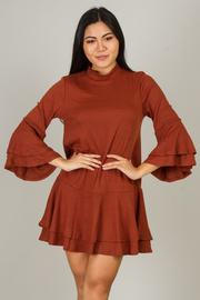 Long Flounce Ruffle Sleeve Dress