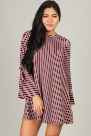 Stripe High Crew Neck Long Angel Sleeve Dress