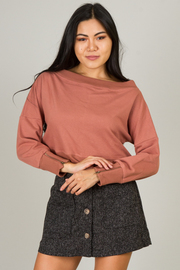 Long Sleeve Boat Neck Crop Top