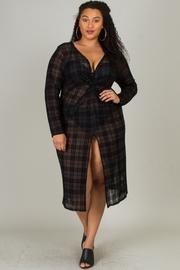 Plus Size Long Sleeve Mesh Flocking Dress