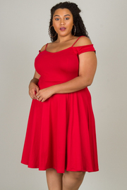 Plus Size Spaghetti Strap Cold Shoulder Flounce Dress