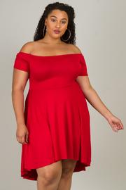 Plus Size Off Shoulder Hi-Lo Dress