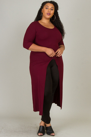 Plus Size 3/4 Sleeve Long Top With Slit
