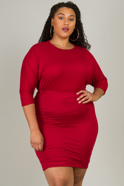 Plus Size 3/4 Sleeve Mini Dress
