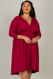Plus Size 3/4 Sleeve Dress With Pleats On Waist And Belt