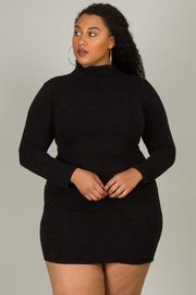 Plus Size High Neck Long Sleeve Mini Dress