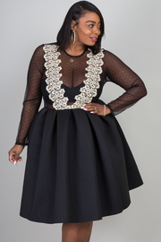 ROUND NECK LONG SLEEVE DOT MESH WITH GOLD LACE DRESS