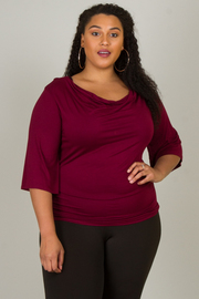 Plus Size 3/4 Sleeve Drape Cowl Neck Top