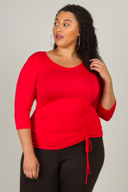 Plus Size Long Sleeve Crew Neck Ruched Detail With Tie Up Top