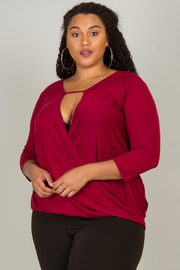 Plus Size Deep V-Neck Over Lapped Top