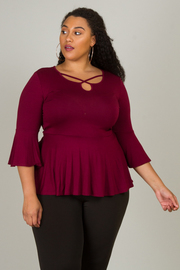 Plus Size Small Bell Sleeve Peplum Top