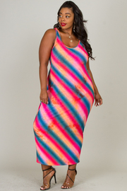 ROUND NECK SLEEVELESS LOW BACK POINT MAXI DRESS