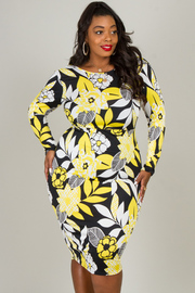 LONG SLEEVE OPEN BACK FLOWER PRINTED FITTED DRESS