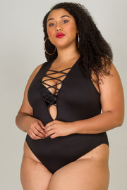 Plus Size Open arm deep v with crossed spaghetti body suit