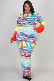 MOCK NECK SLEEVE POINT COLORFUL PRINTED LONG DRESS