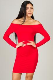 Off The Shoulder Long Sleeve Mini Dress