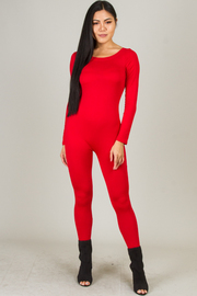 Long Sleeve Crew Neck Zipper On The Back Jumpsuit