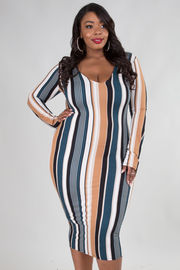 Plus Size Crew Neck Long Sleeve Stripe Mini Dress
