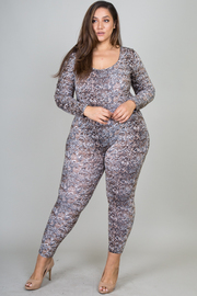 Plus Size Snake Print Long Sleeve Low Back Jumpsuit