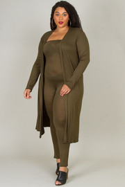 PLUS SIZE CARDIGAN & TUBE JUMPSUIT SET
