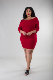 Plus Size Off Shoulder Knit Sweater Dress