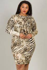 Plus Size Zebra Print Long Sleeve Dress
