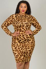Plus Size Cheetah Print Long Sleeve Dress
