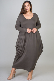 Plus Size Scoop Neck Loose Maxi Jersey Dress With Long Sleeve