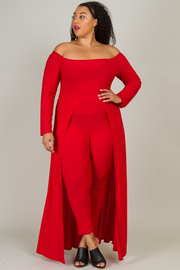 Plus Size Off Shoulder Tail Back Jumpsuit