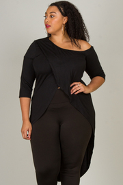 PLUS SIZE COLD SHOULDER 3/4 SLEEVE LONG TAIL TOP