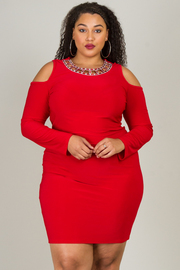 Plus Size Long Sleeve Cold Shoulder Mini Fitted Dress With Necklace Accent