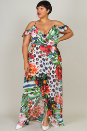 Plus Size Tropical Nights Maxi Sheer Dress