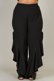 Plus Size Cascading Side Slit Solid Pants