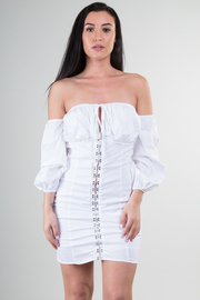 Long Sleeve Off The Shoulder With Crisscross Detailed Mini Dress