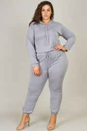 Plus Size Long Sleeve Hoodie Set with Pant