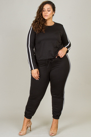 Plus Size Long Sleeve Top With Pant Set Stripe Detail On The Side