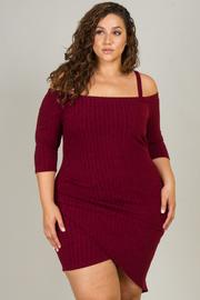 Plus Size 3/4 Cold Shoulder Sleeve Asymmetrical Dress