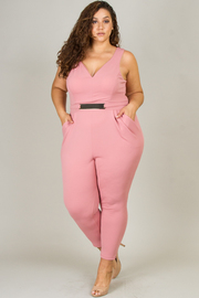 Plus Size Bullet Waist Belted Jumpsuit