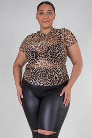 Plus Size Short Sleeve See Through Leopard Print Top
