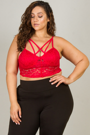 Plus Size Strappy Scalloped Hem Bralette