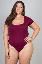 Plus Size Short Sleeve Square Neck Ribbed Bodysuit