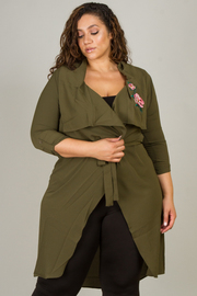 Plus Size Floral Embroidery Belted Jacket