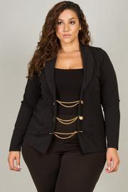 Plus Size Chain Detail Button Long Sleeve Jacket