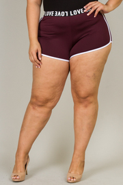 "Plus Size ""Love"" Band Shorts"