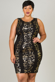 Plus Size Foil Print Dress
