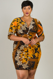Plus Size Plunge Twist Front 3/4 Sleeve Dress