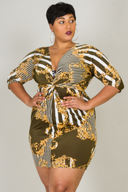 Plus Size Stripe Print 3/4 Sleeve Mini Dress