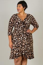 Plus Size V-Neck Ruffled Hem Leopard Print Dress
